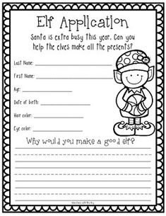Elf Application, Writing, and Craft – elf on the shelf ideas for boys Christmas Writing, Preschool Christmas, Christmas Activities, Kindergarten Activities, Writing Activities, Classroom Activities, Classroom Fun, Future Classroom, Application Writing