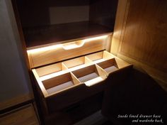 A cherry drawer with removable deviders, suede lined base and LED lights.   For Verny, the interior of your wardrobe is as important as its exterior and we puts as much effort in its design.