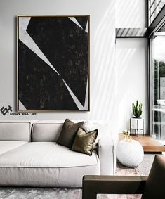 Large Original Painting on Canvas, Modern Wall Art, Geometric Art Abstract Canvas Art – Ethan Hill A sleek modern neutral living room with modern art and modern gray sofa, black and white living room decor Modern Interior, Home Interior Design, Interior And Exterior, Modern Wall Art, Large Wall Art, My Living Room, Living Room Decor, Art Sur Toile, Abstract Canvas Art