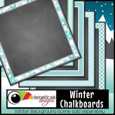 Winter Framed Chalkboards by RebeccaB Designs Chalkboard Clipart, Chalkboard Paper, Chalkboard Background, Framed Chalkboard, Winter Background, Paper Background, Digital Scrapbooking, Digital Papers, Frame Clipart