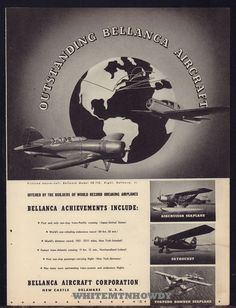 1939 BELLANCA 20-110, Jr. Seaplane Skyrocket Torpedo Bomber Seaplane Aircraft AD
