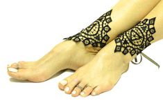 Black lace gothic barefoot sandal goth anklet clothing