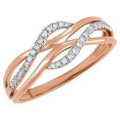 14kt Rose with White Rhodium Plating 1/8 CTW Diamond Ring