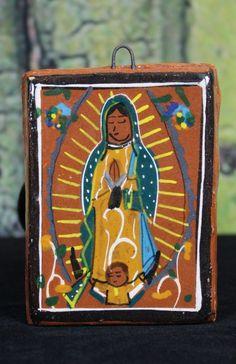 Small tile Virgin of Guadalupe Mexico's Patron Saint Tonala Pottery Folk Art #handmade
