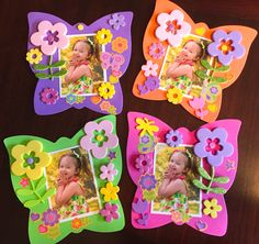 Simple Mother's Day craft for toddlers or preschoolers! Foam stickers and cut outs from Michael's, Jo-Ann's, or Dollar store. Glue on your child's photo and a magnet on the back! These were created by my 4 yr old!