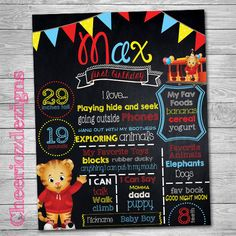 Chalkboard Daniel the Tiger Theme - Tiger Party- Daniel Tiger's Neighborhood - Custom, Digital File- Milestone Birthday Poster