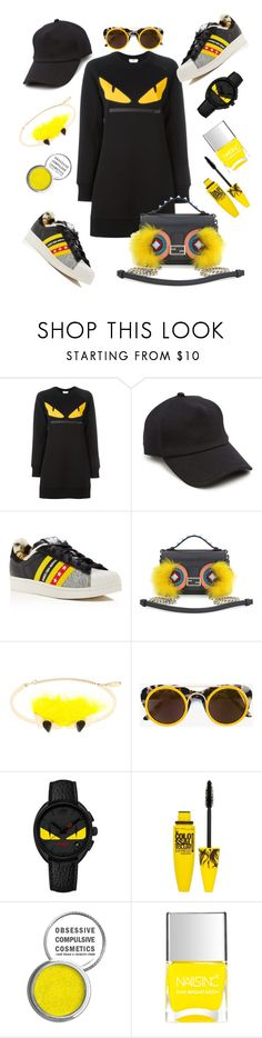 """❤FENDI"" by lisacom ❤ liked on Polyvore featuring Fendi, rag & bone, adidas, Smoke x Mirrors, Maybelline and Obsessive Compulsive Cosmetics"
