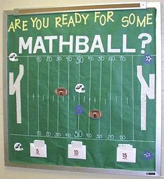 "You Ready for Some MATHball?"" - Interactive Math Bulletin Board Idea ""Are You Ready for Some MATHball?"" - Interactive Math Bulletin Board Idea""Are You Ready for Some MATHball? Math Bulletin Boards, Interactive Bulletin Boards, Math Boards, Bulletin Board Ideas Middle School, Math Board Games, Interactive Display, Abc Games, Math Classroom Decorations, Sports Theme Classroom"