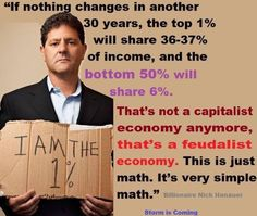 If only it were capitalism. bail outs for banksters is not capitalism. supports for corn, wheat, and soy is not capitalism. tax cuts that only rich people benefit from is self serving, not capitalism. face it, this is what feudalism looks like. Nick Hanauer, Nothing's Changed, Simple Math, Thats The Way, Greed, Social Justice, Economics, In This World, Wisdom