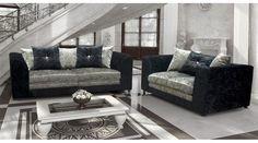 Crystal Crushed Velvet Sofa Set