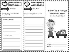 free reading trifold for Henry and Mudge the First Book.  Copy these pages front/back and then fold on the dotted lines to ma...