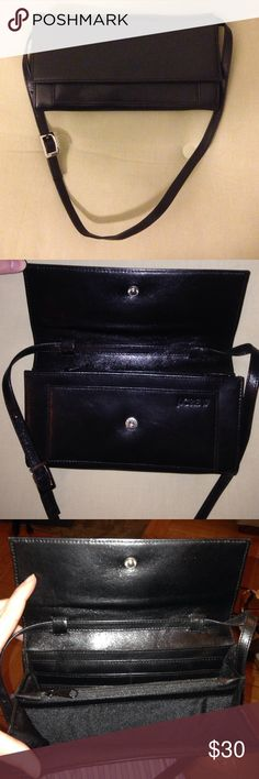 """JCrew black leather purse JCrew black leather purse. small scruff marks if one looks closely. Polishing can likely get rid of these.  Fits cellphone bills and credit cards, has a zippered pouch for makeup or coins. Classic style Approx 11"""" x 4"""" J. Crew Bags"""