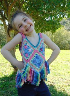 Boho Chic Crop-top | MandMCrochetDesigns | #bohemiancrochet #bohocrochet #bohochiccroptop #crochetcroptop #crochettop #crochetgrannysquaretop #crochetnikkim Crochet Bebe, Crochet Girls, Crochet For Kids, Crochet Halter Tops, Crochet Crop Top, Crochet Dresses, Crop Top Pattern, Vintage Crochet, Toddler Outfits