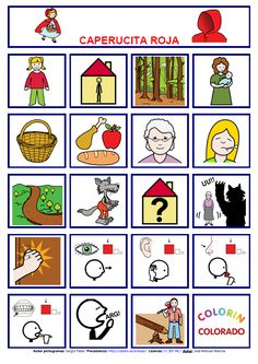 Tablero de comunicación con pictogramas: Caperucita Roja. This is designed for special education but would also be useful for kids learning Spanish as a second language. #Teaching Spanish #Spanish for kids http://informaticaparaeducacionespecial.blogspot.com.es/2014/09/tablero-de-comunicacion-con-pictogramas.html