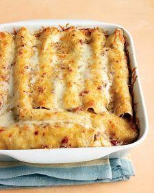 Lighter Chicken Enchiladas - Martha Stewart Recipes.  Enchilada gravy recipe included.