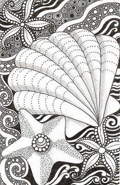 Shell and starfish   von banar - #DRAW #ZENTANGLE #ZENDALA #TANGLE #DOODLE #BLACKWHITE #BLACKANDWHITE #SCHWARZWEISS