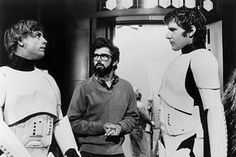 Mark Hamill, George Lucas and Harrison Ford on-set of Star Wars (1977