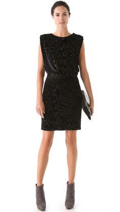 VIKTOR & ROLF $1,160 wood grain pattern black velvet draped Agate dress 38/2 NEW #ViktorRolf #Shift #Cocktail