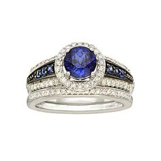 bridal bouquet diamond sapphire ring set jcpenney - Jcpenney Wedding Ring Sets