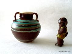 German art-pottery vase  with drip glaze circ 1930's double handled urn with mixed glazing. by Cherryforest on Etsy