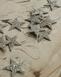 I love stars. These are simply loaded with authentic silver German glass glitter! The glitter will tarish over Noel Christmas, All Things Christmas, White Christmas, Vintage Christmas, Christmas Ornaments, Christmas Glitter, Rustic Christmas, Glitter Beards, Twinkle Twinkle Little Star