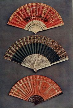 Vintage Fans: Late 18th Century French c1795 - Directoire fans - silk mounts, sticks, mother of pearl, ivory and ebony respectively