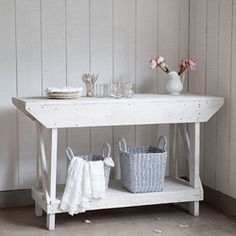 Rachel Ashwell Shabby Chic Couture Warrenton Rustic Console in White ~ Folding Table for the Laundry room