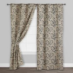 Gray Wild Hibiscus Jaipur Grommet Top Curtains, Set of 2 - v2
