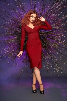 The Greta Faux Wrap Wiggle Dress in Burgundy by Laura Byrnes   Pinup Girl Clothing