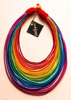 "RAINBOW - unique yarn ""Maasai"" necklace (ethnic, boho, eco, folk, hippie)"
