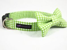Dog Collar Bow Tie Set with a beautiful gingham pattern.  This collar will show off your pups in style!