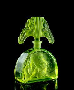 Bohemian Art DecoVaseline Uranium Perfume Bottle Design H.Hoffmann