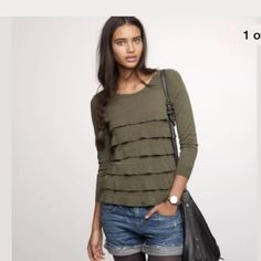 Gray cotton wool Ruffled pullover sweater top Color is gray. Pima cotton, wool J. Crew Sweaters Crew & Scoop Necks