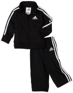 kids clothes for boys   Adidas Baby Boys' Iconic Tricot Jacket and Pant Set, Black/White, 24 Months