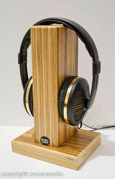 Oscarsaudio Stacked Ply Headphone Stand in Zebrano by oscarsaudio
