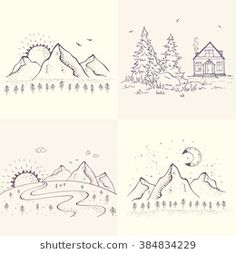 Set with beautiful sketch with house and spruce, mountains with sun and moon. Simple Couples Tattoos, Sunrise Tattoo, Lake Tattoo, Cactus Doodle, Sun House, Landscape Sketch, Beautiful Sketches, Royalty Free Photos, How To Draw Hands