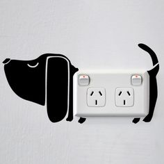 Fun dog wall sticker for creative power sockets and light switches! Please note, our range of stickers for power points is created with adults and older children