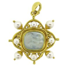 Elizabeth Locke Venetian Glass Intaglio Pearl Gold Pendant Brooch | From a unique collection of vintage necklace enhancers at https://www.1stdibs.com/jewelry/necklaces/necklace-enhancers/