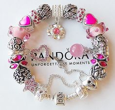 Authentic PANDORA Silver Charm Lobster Bracelet with Pink Heart Charms Beads New #Pandora #European
