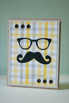 card for men - eye glasses spectacles, moustache beard - rad - masculine - Mustache card, card for him, birthday card - plaid paper Birthday Cards For Men, Handmade Birthday Cards, Card Birthday, Boy Cards, Cute Cards, Fathers Day Crafts, Happy Fathers Day, Mustache Cards, Printable Scrapbook Paper