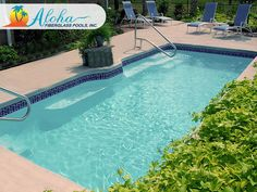 Palm 1a: The Modern models are aesthetically pleasing designs with clean, sleek lines.  The Palm is a modern shaped fiberglass pool that is 11'x25' and goes to 4' in depth.  For more information about Aloha Fiberglass Pools or to find a local pool builder in your area that can assist you, visit www.AlohaFiberglassPools.com or call (800) 786-2318.