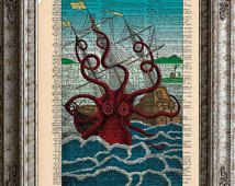 Octopus 2 Full Color Sea Monster on Vintage Upcycled Dictionary Art Print Book Art Print Recycled