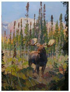 Carl Rungius Moose Wildlife Paintings, Wildlife Art, Animal Paintings, Animal Drawings, Bull Moose, Moose Art, Alaskan Moose, Nature Hunt, Deer Pictures
