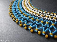 Tropical Blue Collar. Handmade Beaded Aqua and Orange Egyptian Necklace   SagesCupboard - Jewelry on ArtFire