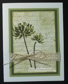Card made with Stampin'UP! set: Too Kind. Like the paper stock with delicate hand writing.