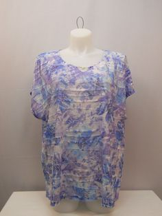 PLUS SIZE 2X Womens Knit Top ERIKA Floral Embellished Split Scoop Neck Kimono Sl #Erika #KnitTop #Career