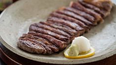Wagyu steak with wasabi and tosa joyu recipe : SBS Food Recipes With Soy Sauce, Meat Sauce Recipes, Recipe Soy, Izakaya Recipe, Japanese Dishes, Japanese Recipes, Japanese Food, Beef Steak Recipes, Sbs Food