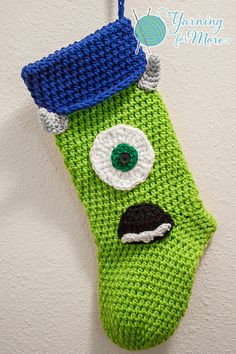"""This pattern is for the green cyclops features ONLY. The stocking is listed under the """"Hung By The Fire with Care"""" stocking in my store. There is also an ebook available of the green Cyclops features WITH the stocking pattern Christmas Stocking Stand, Crochet Christmas Stocking Pattern, Crochet Stocking, Crochet Christmas Ornaments, Holiday Crochet, Christmas Sewing, Christmas Knitting, Christmas Stockings, Christmas Tables"""