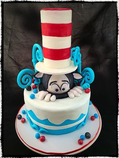 The cat in the hat 1st birthday cake