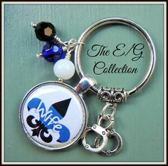 Designed by The E/G Collection - New Orleans Louisiana Nola Police Wife glass bead keyring,  Thin Blue Line, Highway Patrol, State Trooper, Deputy Sheriff, Holiday Christmas by TheEandGCollection on Etsy